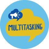 Begreppsmässig Multitasking för handhandstilvisning Affärsfoto som ställer ut personen som kan handla med mer än en uppgift på royaltyfri illustrationer