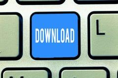 Begreppsmässig nedladdning för handhandstilvisning Data för kopia för affärsfototext från ett ADB-system som är ett annat typisk  stock illustrationer