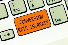 Begreppsmässig omvandling Rate Increase för handhandstilvisning Förhållande för affärsfototext av sammanlagda besökare som utför arkivfoton