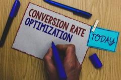 Begreppsmässig omvandling Rate Optimization för handhandstilvisning System för affärsfototext för ökande procentsats av besökarem fotografering för bildbyråer