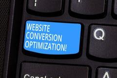 Begreppsmässig Optimization för omvandling för Website för handhandstilvisning System för affärsfototext för ökande website arkivbilder