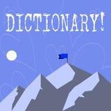 Begreppsmässig ordbok för handhandstilvisning Affärsfoto som ställer ut lära en andra vocabs och synonymer från boken stock illustrationer