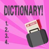 Begreppsmässig ordbok för handhandstilvisning Affärsfototext som lär en andra vocabs och synonymer från boken vektor illustrationer