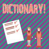 Begreppsmässig ordbok för handhandstilvisning Affärsfototext som lär en andra vocabs och synonymer från boken stock illustrationer