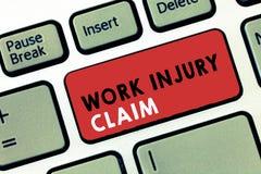 Begreppsmässig reklamation för skada för arbete för handhandstilvisning Kompensation för anställd för ersättning för medicinsk vå royaltyfria bilder