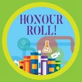Begreppsmässig rulle för heder för handhandstilvisning Affärsfoto som ställer ut listan av studenter som har tjänat kvaliteter ov stock illustrationer