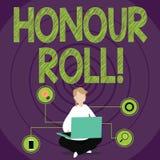 Begreppsmässig rulle för heder för handhandstilvisning Lista för affärsfototext av studenter som har tjänat kvaliteter ovanför a royaltyfri illustrationer