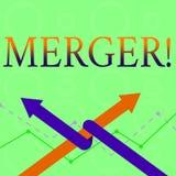 Begreppsmässig sammanslagning för handhandstilvisning Kombination för affärsfototext av två saker eller företagsfusionförening stock illustrationer