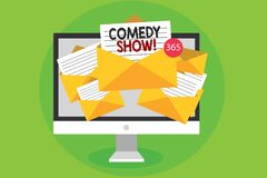 Begreppsmässig show för komedi för handhandstilvisning Affärsfoto som ställer ut humoristiskt underhållande medel för roligt prog vektor illustrationer