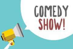 Begreppsmässig show för komedi för handhandstilvisning Affärsfoto som ställer ut humoristiskt underhållande medel för roligt prog royaltyfri illustrationer