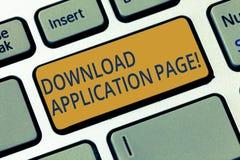 Begreppsmässig sida för applikation för nedladdning för handhandstilvisning Affärsfotoet som ställer ut datoren, mottar data från royaltyfri illustrationer