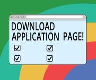 Begreppsmässig sida för applikation för nedladdning för handhandstilvisning Datoren för affärsfototext mottar data från internet vektor illustrationer