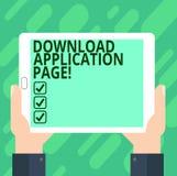 Begreppsmässig sida för applikation för nedladdning för handhandstilvisning Datoren för affärsfototext mottar data från internet  stock illustrationer