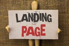 Begreppsmässig sida för landning för handhandstilvisning Website för affärsfototext som tas fram, genom att klicka en sammanlänkn Royaltyfria Bilder