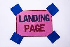 Begreppsmässig sida för landning för handhandstilvisning Website för affärsfototext som tas fram, genom att klicka en sammanlänkn Royaltyfria Foton