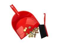 Begreppsmässig sikt av finanskriets - sopskyffel, borste och eurocent Royaltyfri Bild