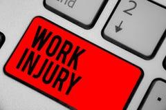 Begreppsmässig skada för arbete för handhandstilvisning Olyckan för affärsfototext i Unsecure villkor för jobbfara gör ont trauma royaltyfri bild
