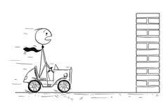 Begreppsmässig tecknad film av affärsmannen Facing Crisis royaltyfri illustrationer
