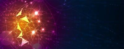 Begreppsmässig teknologiillustration av konstgjord intelligens futuristic abstrakt bakgrund stock illustrationer