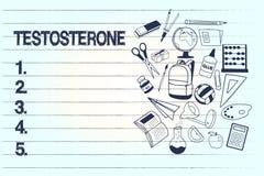Begreppsmässig testosteron för handhandstilvisning Utveckling för hormon för affärsfototext av manliga sekundära sexuella kännete royaltyfri illustrationer