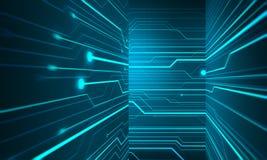 Begreppsmässig tredimensionell korridor med teknologichipwallp Fotografering för Bildbyråer