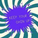 Begreppsmässig uppehälle för handhandstilvisning din Chin Up Affärsfototext återstår gladlynt i hög ande för svåra omständigheter stock illustrationer