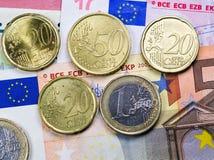 begreppsmässig valutaeuro för sedlar femtio fem tio Arkivbild