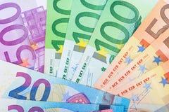 begreppsmässig valutaeuro för sedlar femtio fem tio Royaltyfria Bilder