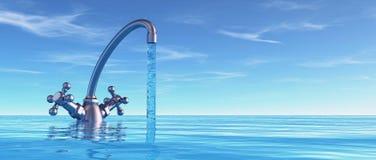 Begreppsmässig vattenkran i havet stock illustrationer