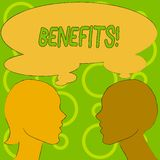 Begreppsmässiga fördelar för handhandstilvisning Hjälpmedel för vinst för intäkt för intresse för kompensation för försäkring för royaltyfri illustrationer