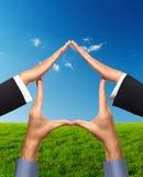 begreppsmässiga händer returnerar gjort symbol Fotografering för Bildbyråer