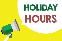 Begreppsmässiga timmar för ferie för handhandstilvisning Schema 24 eller för affärsfototext halvdag 7 i dag sista minut sent stock illustrationer