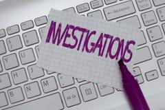 Begreppsmässiga utredningar för handhandstilvisning Affärsfototext den formella handlingen eller den systematiska undersökningen  royaltyfri foto