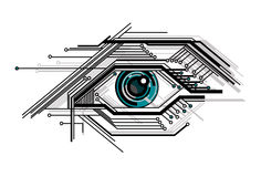 begreppsmässigt öga stylized tech Royaltyfria Bilder