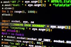 Begreppsmässigt av cyberattackkod Arkivbilder