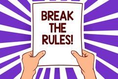 Begreppsmässigt avbrott för handhandstilvisning reglerna Affärsfototext gör ändringar att göra allt olikt revoltreformpapper p stock illustrationer