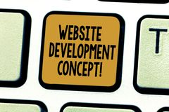 Begreppsmässigt begrepp för utveckling för Website för handhandstilvisning Affärsfoto som ställer ut framkalla en webbplats för arkivfoto