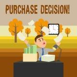 Begreppsmässigt beslut för köp för handhandstilvisning Affärsfoto som ställer ut processen som leder en konsument från royaltyfri illustrationer