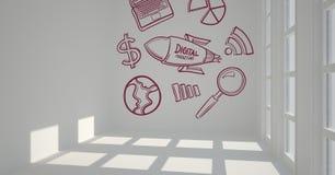 Begreppsmässigt diagram på väggen för rum 3D Fotografering för Bildbyråer