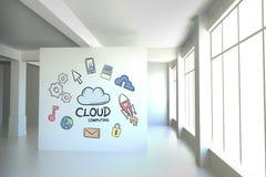 Begreppsmässigt diagram på väggen för rum 3D Arkivfoto