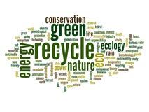 Begreppsmässigt ekologiordmoln Arkivbilder