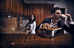 begreppsmässigt foto för chessplayer Royaltyfri Bild