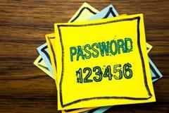 Begreppsmässigt lösenord 123456 för visning för inspiration för överskrift för handhandstiltext Affärsidé för säkerhetsinternet s Fotografering för Bildbyråer