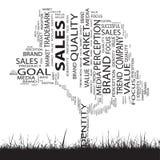 Begreppsmässigt moln för ord för affärstrendträd Arkivbild