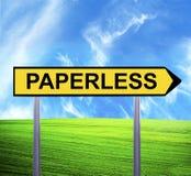 Begreppsmässigt piltecken mot härligt landskap med PAPERLESS text - arkivfoto