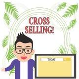 Begreppsmässigt sälja för kors för handhandstilvisning Affärsfoto som ställer ut för att sälja kompletterande produkter till finn royaltyfri illustrationer