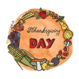 Begreppsmässigt skörddiagram med olika grönsaker på fältet Klotterskördkrans, vattenfärg royaltyfri illustrationer