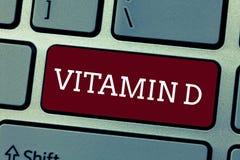 Begreppsmässigt vitamin D för handhandstilvisning Affärsfoto som ställer ut den närande ansvariga för ökande inälvs- absorbering fotografering för bildbyråer