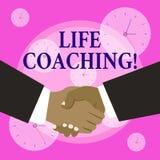 Begreppsm?ssig coachning f?r liv f?r handhandstilvisning Affärsfotoet som ställer ut en demonstrering som används för att hjälpa  stock illustrationer