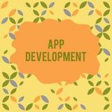 Begreppsm?ssig handhandstil som visar App-utveckling Affärsfoto som ställer ut utvecklingsservice för enormt mobilt och vektor illustrationer